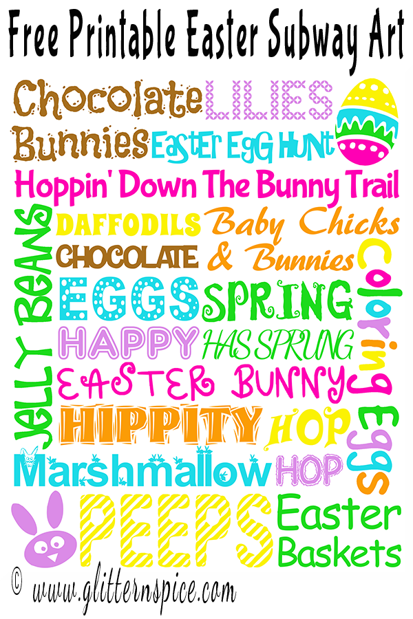 graphic regarding Subway Art Printable identify No cost Printable Easter Subway Artwork Glitter N Spice