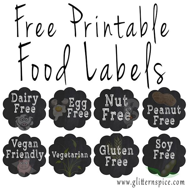 picture about Free Printable Buffet Food Labels referred to as Absolutely free Printable Labels For Determining Well-known Meals Allergic reactions