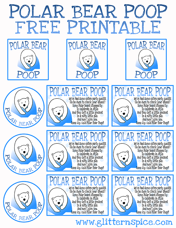 Polar Bear Poop Free Printable Poem And Gift Tags