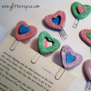Heart Shaped Polymer Clay Bookmarks