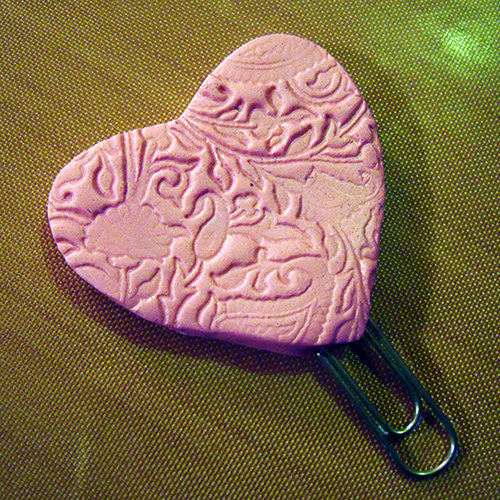 Polymer Clay Heart Paperclip Bookmark