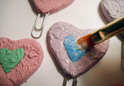 Brush Glaze Over The Polymer Heart Bookmarks