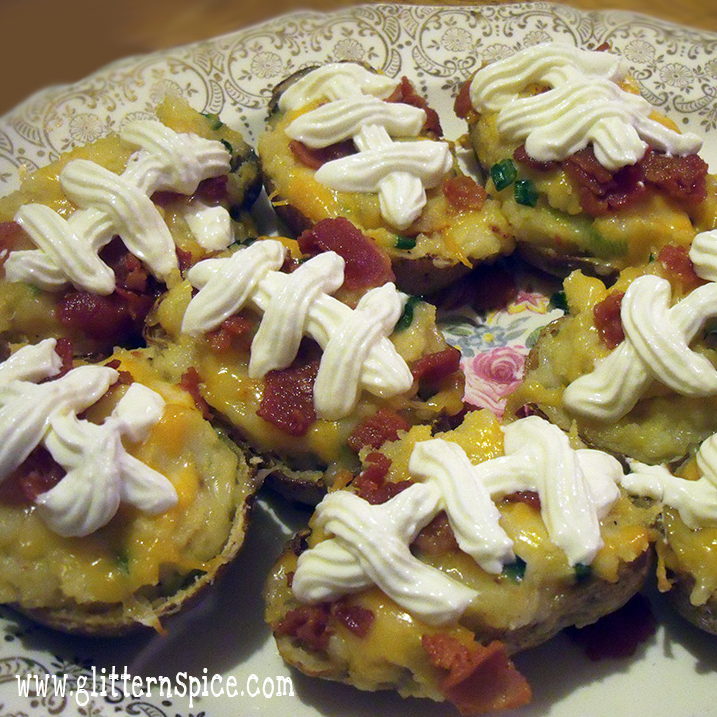 Football Party Food Ideas: Football Twice Baked Potatoes Recipe
