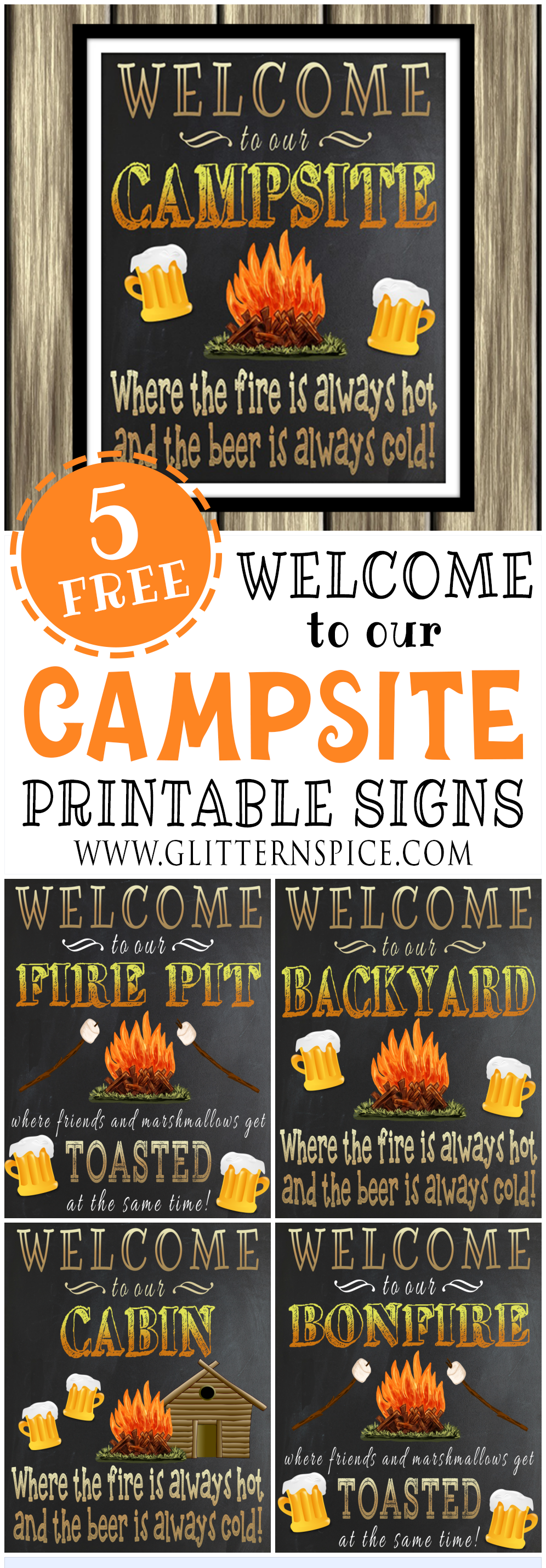 Free Printable Welcome To Our Campsite Sign Plus 4 More Free Printable Outdoor Signs To Choose From