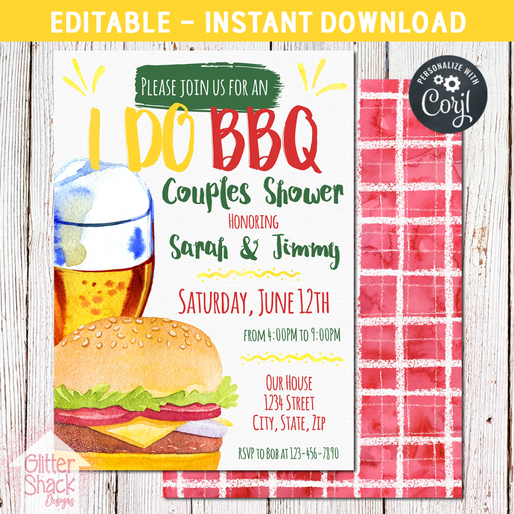 Editable I Do BBQ Watercolor Invitation