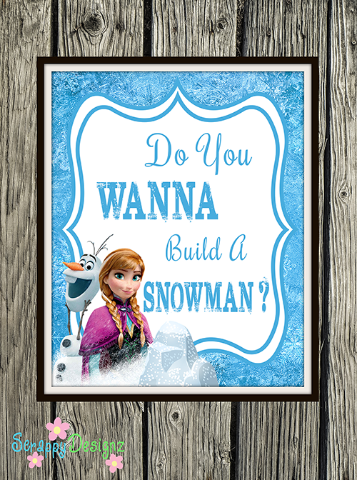 "Frozen Inspired Karaoke Party Printables - ""Do You Wanna Build A Snowman?"" 8"" x 10"" Poster"