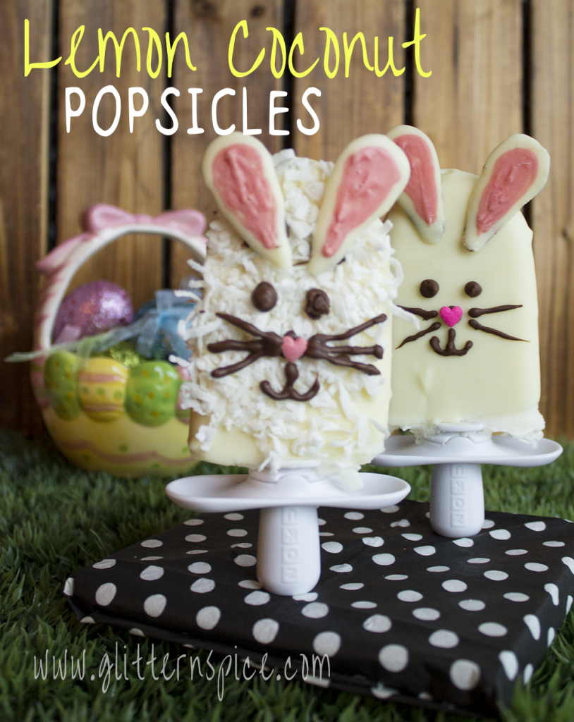 These Easter Bunny Lemon Coconut Popsicles made with unsweetened coconut milk, sweetened coconut, freshly squeezed lemon juice and dipped into a creamy white chocolate magic shell coating are almost too cute to eat! | Glitter 'N' Spice