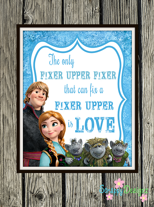 "Frozen Inspired Karaoke Party Printables - ""Fixer Upper"" 8"" x 10"" Poster"