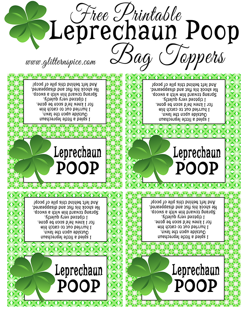 Free Printable Leprechaun Poop Treat Bag Toppers | Leprechaun Poop Poem