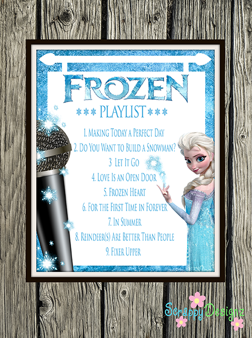 "Frozen Inspired Karaoke Party Printables - Frozen Soundtrack Playlist 8"" x 10"" Poster"