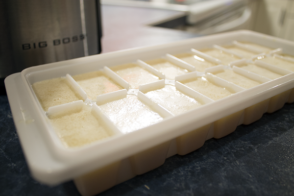Pour Garlic Juice Into Lightly Oiled Ice Cube Trays And Freeze