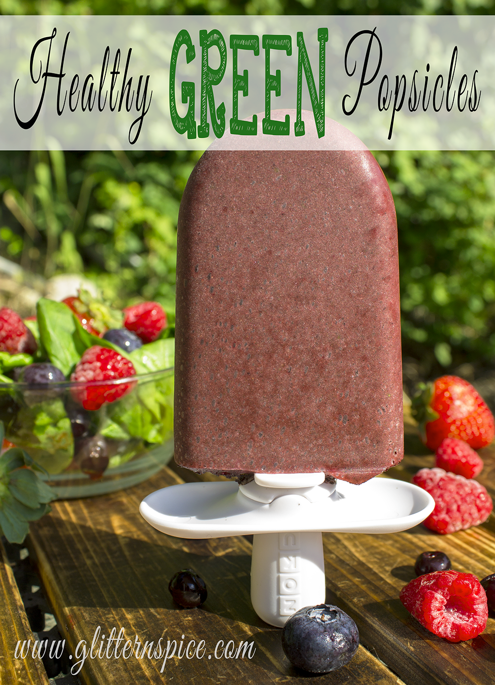 Healthy Berry Green Popsicles