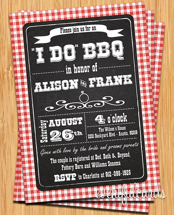 Gingham I Do BBQ Invitation