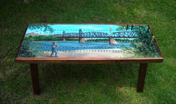 Fisherman Cribbage Table - Handmade Cribbage Table A Unique Gift Idea For Cribbage Players