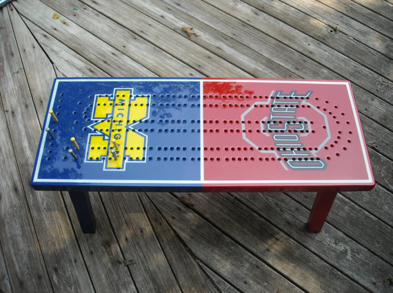Team Rivalry Cribbage Table - Handmade Cribbage Table A Unique Gift Idea For Cribbage Players