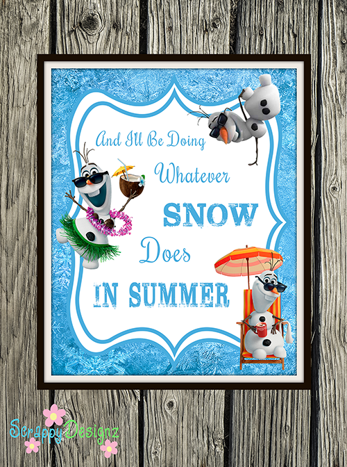 "Frozen Inspired Karaoke Party Printables - ""In Summer"" 8"" x 10"" Poster"