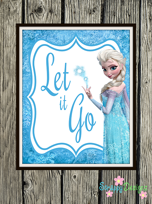 "Frozen Inspired Karaoke Party Printables - ""Let It Go"" 8"" x 10"" Poster"