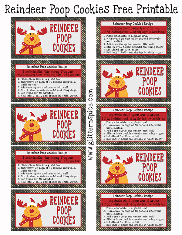 Reindeer poop cookies recipe and free printable glitter n spice reindeer poop poem free printable gift tags negle Image collections