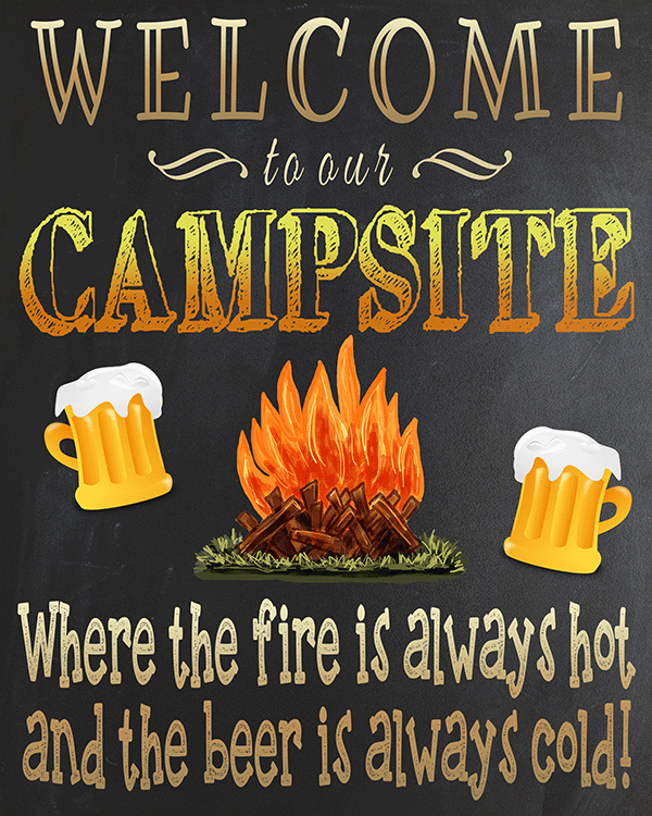 Free Printable Welcome To Our Campsite Sign