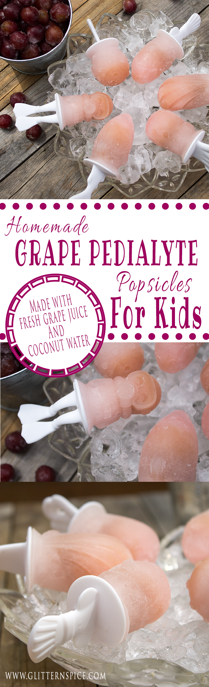 If your kids won't drink or eat when they are sick, try giving them a popsicle instead! These Homemade Grape Pedialyte Popsicles made with fresh grape juice and coconut water are a tasty treat that helps replenish lost fluids and electrolytes. Use fun popsicle shapes, like the Zoku Fish Pops, to encourage even the sickest child to want to eat the popsicles.