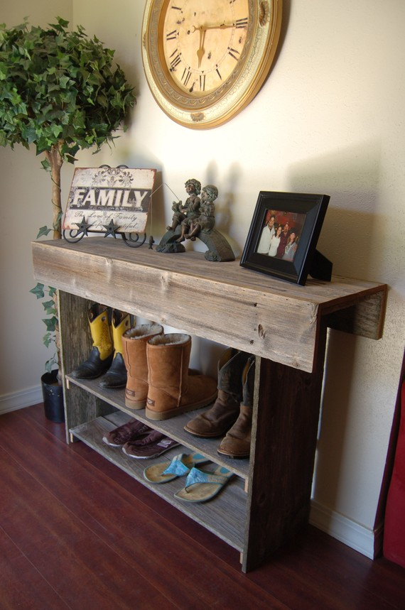 Reclaimed Cedar Wood Entryway Table available via TRUECONNECTION