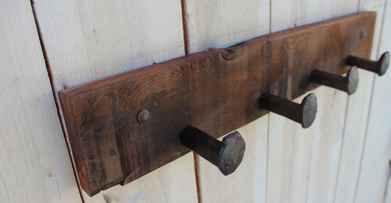 Reclaimed Wood Railroad Spike Coat Rack