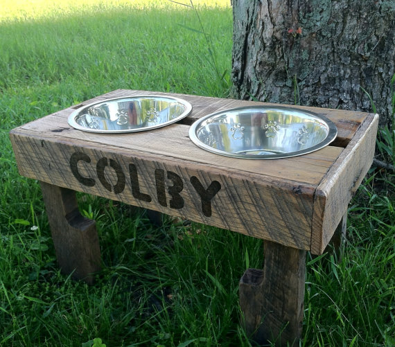 Rustic Reclaimed Wood Dog Feeding Station