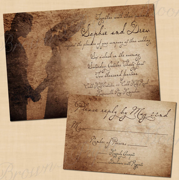 Frankenstein's Bride Halloween Wedding Invitation
