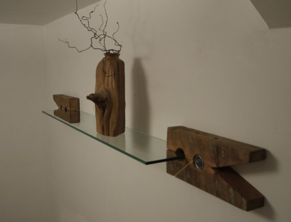 Reclaimed Wood And Glass Clothespin Floating Shelves