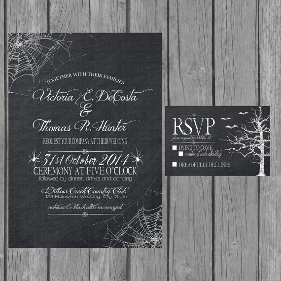 Halloween Chalkboard Wedding Invitation