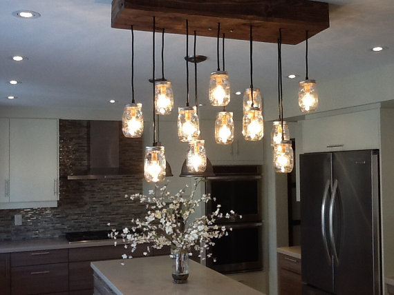 Superieur Reclaimed Wood Mason Jar Chandelier