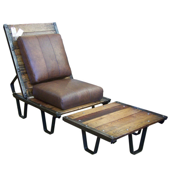 Reclaimed Wood Lounge Chair & Ottoman