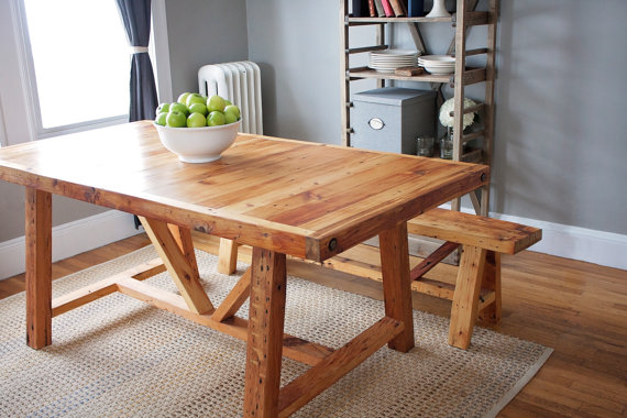 Reclaimed Wood Farmhouse Dining Table And Bench Available Via UniqueIndustry