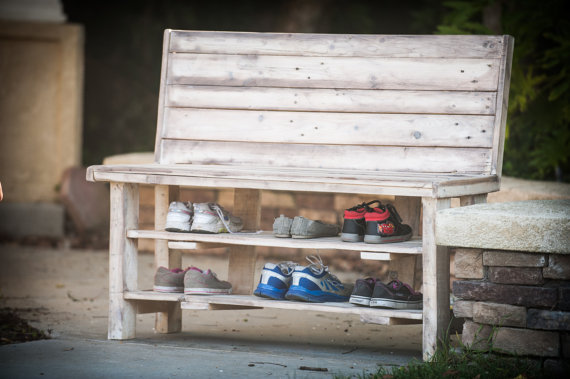 Reclaimed Wood Shoe Rack Bench available via BreakingandRemaking