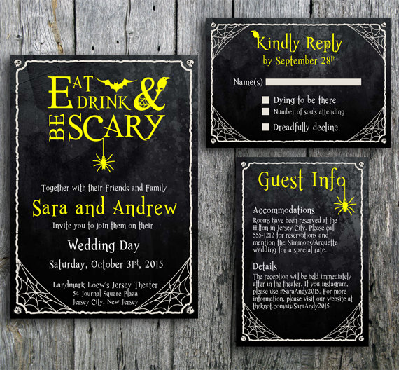 Eat, Drink and Be Scary Wedding Invitation & RSVP Card