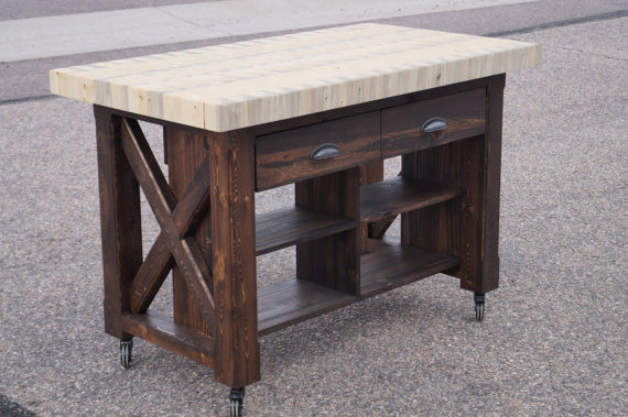 Reclaimed Wood Kitchen Island With Butcher Block Top