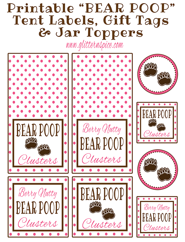 Printable Bear Poop Gift Tags And Jar Toppers