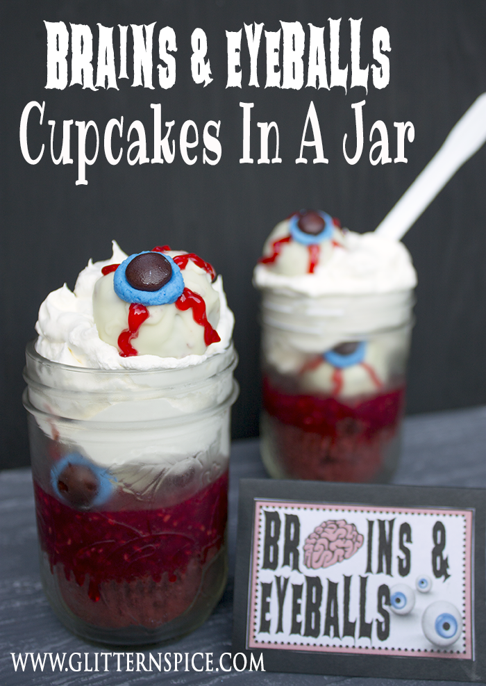 a fun and gruesome halloween cupcakes in a jar recipe made with red velvet cupcakes