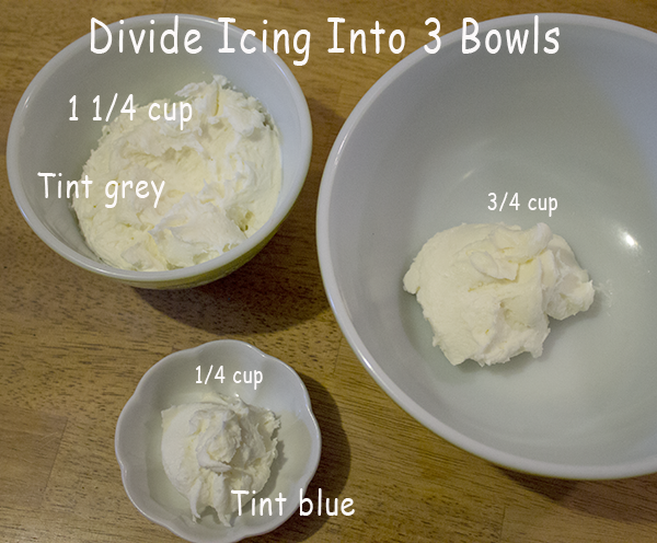 Divide And Tint Buttercream Frosting Grey, Blue And White For Decorating Brains And Eyeballs Cupcakes