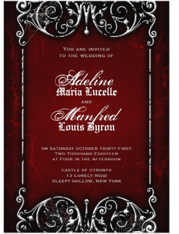 Gothic Victorian Red, Black & White Wedding Invitation