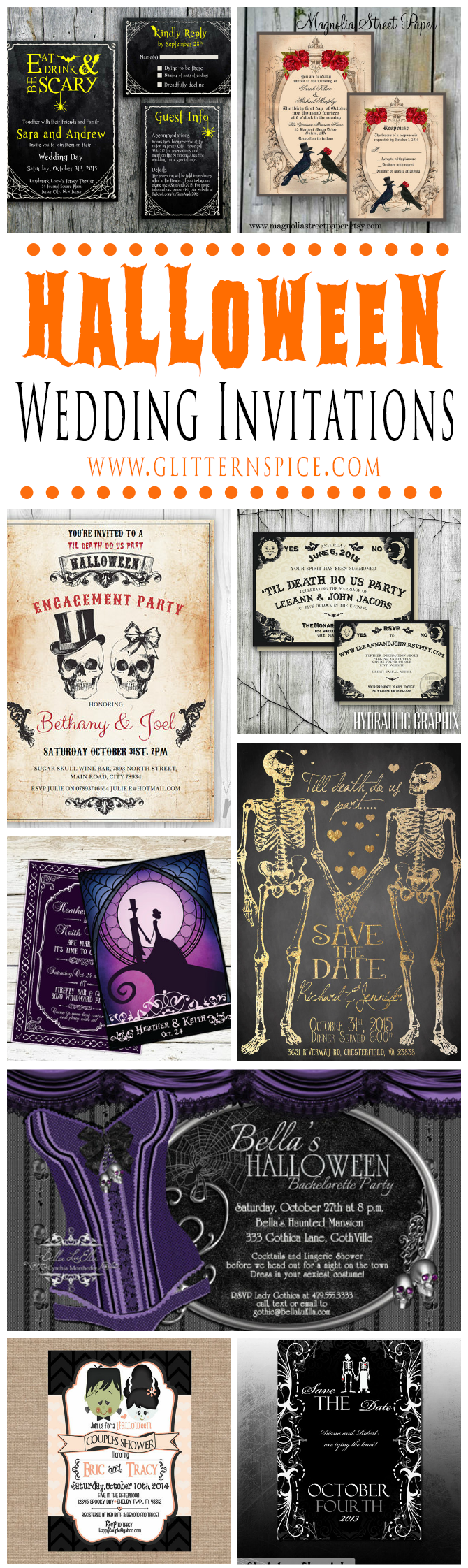 Spooktacular Halloween Wedding Invitations | Glitter \'N Spice