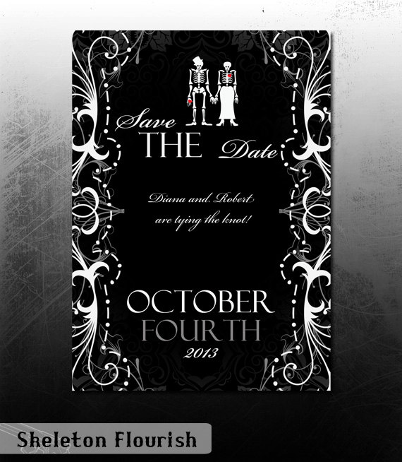 Goth Skeleton Wedding Save the Date Invitation