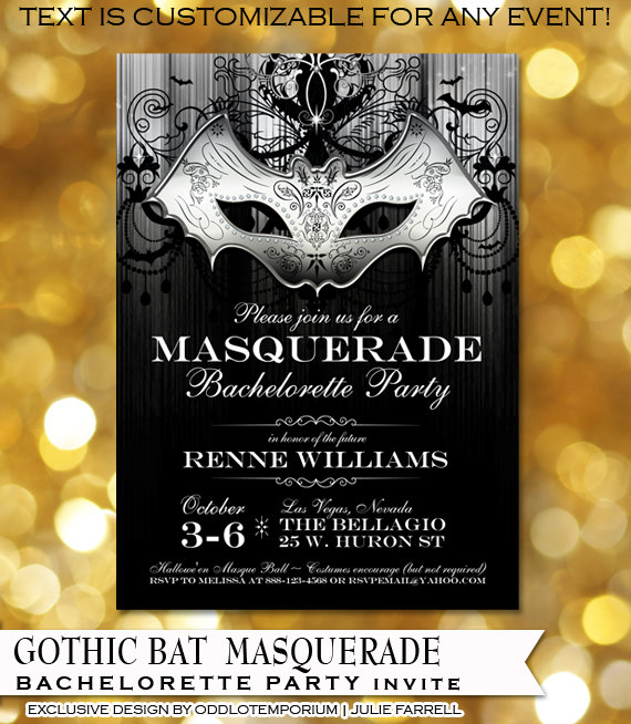 Halloween Masquarade Bachelorette Party Invitation