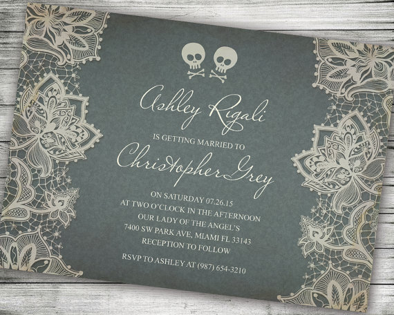 Skull and Cross Bones Halloween Wedding Invitation