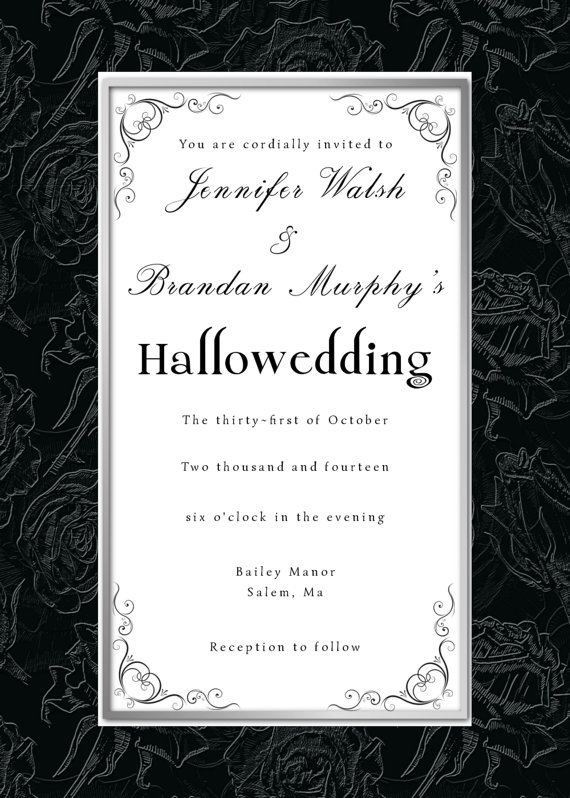 Gothic Black Roses Halloween Wedding Invite And RSVP Card