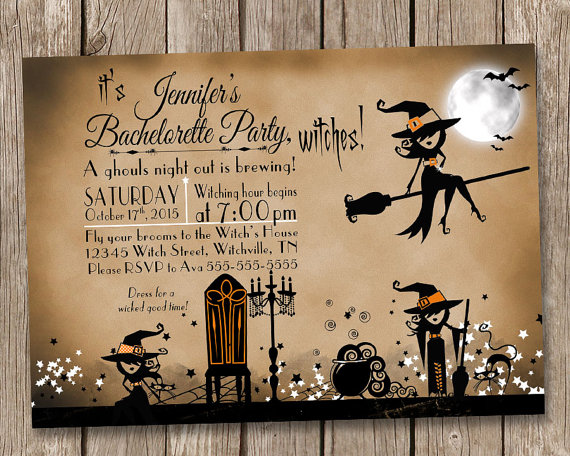Vintage Witch Bachelorette Party Invitation