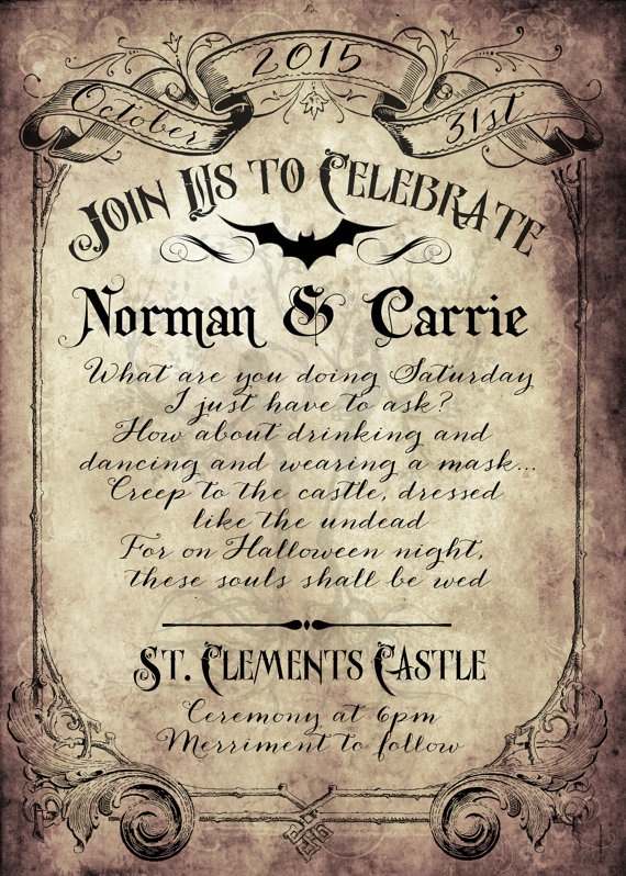 Spooktacular halloween wedding invitations glitter 39n spice for Free printable gothic wedding invitations