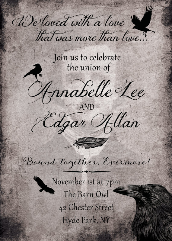 Edgar Allen Poe Raven Wedding Invitation And RSVP Card