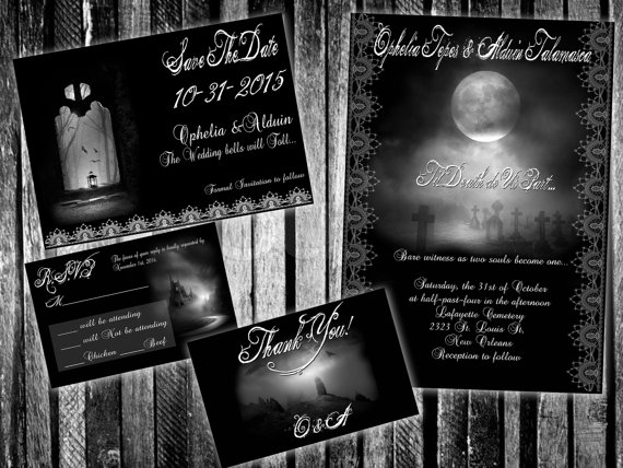 Gothic Landscapes Halloween Wedding Invitation Set