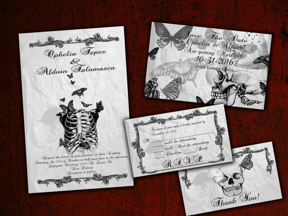 Skeleton and Butterflies Gothic Halloween Wedding Invitation